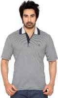 Thinc Striped Men's Polo Neck White, Blue T-Shirt