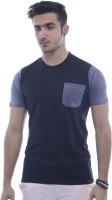 Urban Flux Solid Men Round Neck Black, Grey T-Shirt