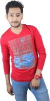 Spur Printed Mens V-neck Red T-Shirt