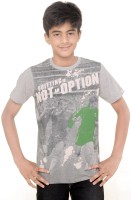 Menthol Boys Solid T Shirt(Grey, Pack of 1)