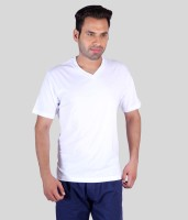 Humbert Solid Mens V-neck White T-Shirt
