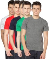TOMO Solid Mens Round Neck Grey, Green, Dark Blue, Red, White T-Shirt(Pack of 5)