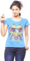 Trendy Girlz Graphic Print Womens Round Neck Blue T-Shirt