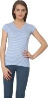 Ebry Striped Women's V-neck Blue, White T-Shirt