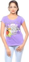 Trendy Girlz Printed Womens Round Neck Purple T-Shirt