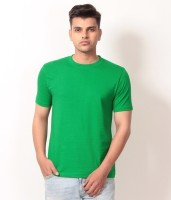 Arrow Tower Solid Men's Round Neck Green T-Shirt