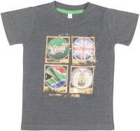 Hunny Bunny Boys Printed T Shirt(Grey, Pack of 1)
