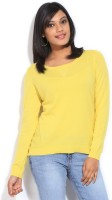 French Connection Solid Womens Round Neck Yellow T-Shirt