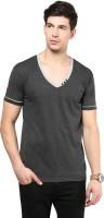 Izinc Solid Men V-neck Grey T-Shirt