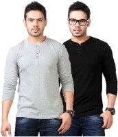 Top Notch Solid Mens Henley Grey, Black T-Shirt(Pack of 2)