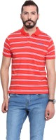 Camino Striped Mens Polo Neck Red T-Shirt