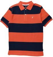 Nautica Boys Striped T Shirt(Orange, Pack of 1)