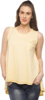Cult Fiction Solid Womens Round Neck Yellow T-Shirt
