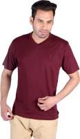 Humbert Solid Mens V-neck Maroon T-Shirt
