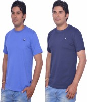 Leaf Solid Men's Round Neck Blue, Light Blue T-Shirt(Pack of 2)