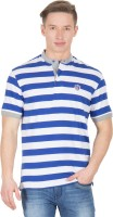 Wilkins & Tuscany Striped Mens Henley Blue T-Shirt