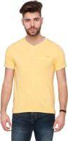 Mufti Solid Men V-neck Yellow T-Shirt