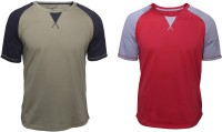 Poshuis Solid Men Round Neck Red, Green T-Shirt(Pack of 2)
