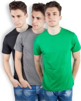 TOMO Solid Men's Round Neck Black, Grey, Green T-Shirt(Pack of 3)