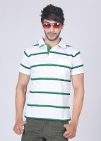 Allen Solly Striped Men Polo Neck White, Green T-Shirt