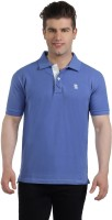 The Cotton Company Solid Men's Polo Neck Blue T-Shirt