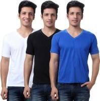 TeeMoods Solid Mens V-neck Black, White, Blue T-Shirt(Pack of 3)