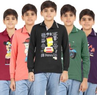 Meril Boys Graphic Print T Shirt(Multicolor, Pack of 5)