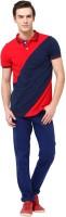MONTEIL & MUNERO Striped Mens Polo Neck Red T-Shirt