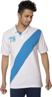 Red Line Solid Men Polo Neck White, Blue T-Shirt
