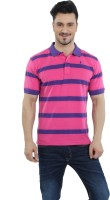 The Cotton Company Striped Mens Polo Neck Pink T-Shirt