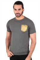 Anger Beast Solid Men's Round Neck Grey T-Shirt
