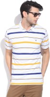 Gant Striped Mens Polo Neck Yellow, White, Blue T-Shirt