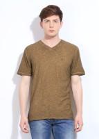 John Players Solid Mens V-neck Brown T-Shirt
