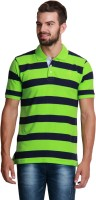Design Roadies Striped Mens Polo Neck Black, Green T-Shirt