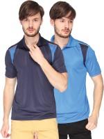 Campus Sutra Solid Men Polo Neck Denim Dark Blue, Blue T-Shirt(Pack of 2)