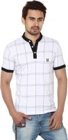 Ruse Checkered Mens Polo Neck White, Black T-Shirt