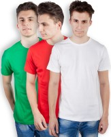 TOMO Solid Mens Round Neck Green, Red, White T-Shirt(Pack of 3)
