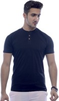 Urban Flux Solid Men Henley Black T-Shirt