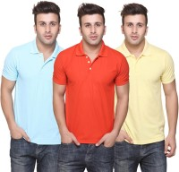 Burdy Solid Men's Polo Neck Multicolor T-Shirt(Pack of 3)