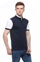 Fasnoya Printed Men's Mandarin Collar Dark Blue T-Shirt
