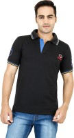 Denzor Solid Men Polo Neck Black T-Shirt