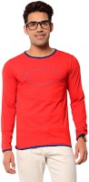 Ebry Solid Mens Henley Red T-Shirt