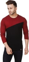 Fabstone Collection Color block Men Round or Crew Maroon, Black T-Shirt