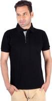 Swag Geometric Print, Solid Men's Polo Neck Grey, Black T-Shirt