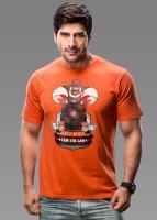Imagica Printed Mens Round Neck Orange T-Shirt