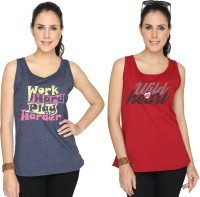 SayItLoud Printed Women's Round Neck Blue, Maroon T-Shirt(Pack of 2)