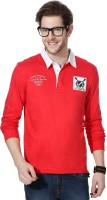 People Printed Men's Polo Neck Red T-Shirt