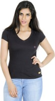 Texco Solid Womens V-neck Red T-Shirt