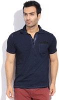 Breakbounce Solid Mens Polo Neck Blue T-Shirt