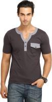Fio Solid Men's Fashion Neck Dark Blue T-Shirt